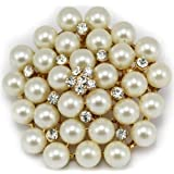 Elixir77UK Gold Colour Flower Wedding Bridal Pin Brooch With Plain Crystals and Faux Pearls UK SELLER