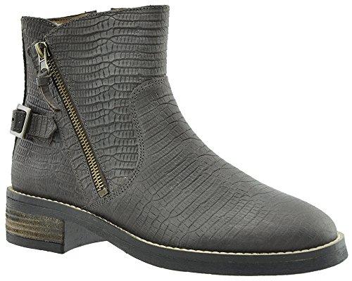 JJ Footwear Damen Stiefeletten Leder Bala Weit Espresso Wax Nub Deep Snake Print