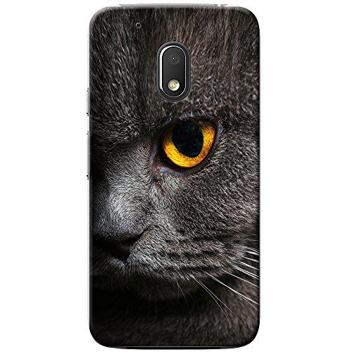 Nahaufnahme von grauen Katzen gelbes Auge Hartschalenhülle Telefonhülle zum Aufstecken für Motorola Moto G4 Play