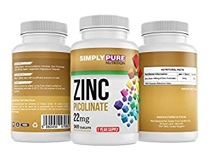 Zinc Picolinate 22mg - 1 Year Supply (365 Tablets)