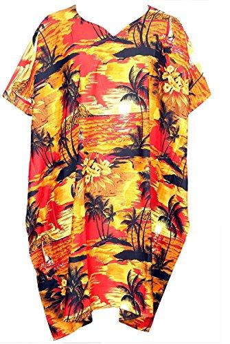 SAITARK-Vestido-suter-para-mujer-Multicolor-RED-BEACH-PALM-nica