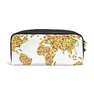 jstel mapa del mundo frutas y verduras escuela lápiz bolsa para bebés de los niños Niños Adolescentes soporte para bolígrafos de maquillaje bolsa mujer duradera gran capacidad bolsa de papelería