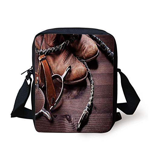 Western Decor,Authentic Old Leather Boots and Spurs Rustic Rodeo Equipment USA Style Art Picture,Brown Print Kids Crossbody Messenger Bag Purse -