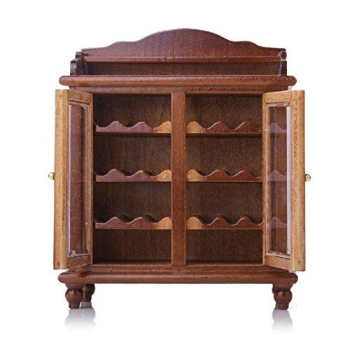 1/12 Puppenhaus Miniaturen Wohnzimmer Möbel aus Holz Weinklimaschrank Walnuss
