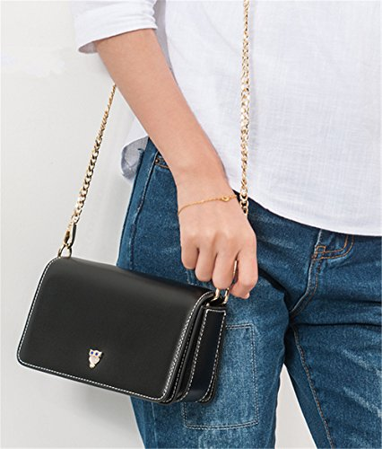 Xinmaoyuan Damen Handtaschen Pu-Kette weiblichen Bag Schulter Messenger kleine Quadratische Tasche, Pink Schwarz