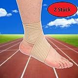 AGIA TEX 2er Set Fuß-Gelenk Stützbandage Knöchel Fußknöchel-Bandage (77cm, Hautfarbe / Beige)