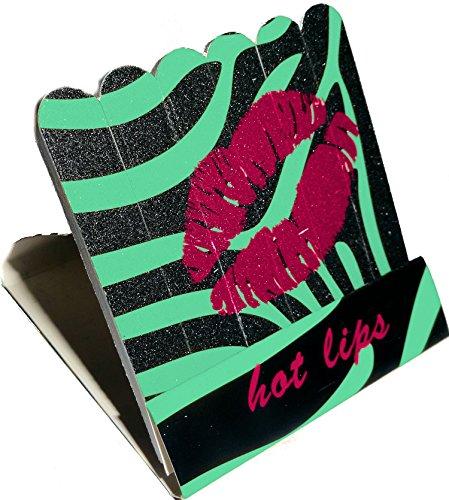 Mini kit de limes en forme de zündholzbriefchen : Hot Lips Turquoise/Noir zebra ~ Idéal pour les Sac à main ou un petit Attention pour offrir