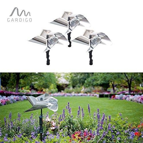 Gardigo Vogel-Frei Windmühle 3er Set, reflektierende Vogelscheuche, giftfrei und dekorativ Vögel vertreiben, Vogelabwehr, Vogelschreck