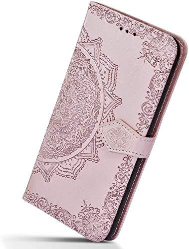 Herbests Kompatibel mit Samsung Galaxy A20e Handy Hülle Handytasche Leder Hülle Retro 3D Mandala Blumen Muster Leder Schutzhülle Flip Case Klapphülle Brieftasche Wallet Tasche,Rose Gold