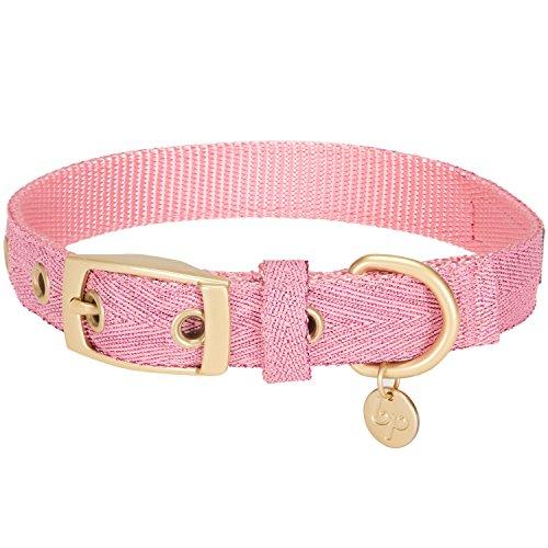 Blueberry Pet Das Begehrteste Designer Misch-Glanzfaden Hundehalsband in Leuchtend Lametta Rosa mit Metallschnalle, Hals 19cm-25cm, Verstellbare Halsbänder für Hunde -