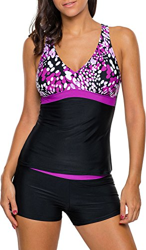 Unbekannt Damen Tankini Bikini Bademode Badeanzug Polster Zweiteiler Panty Top Punkte Lila 44/46 (Etikett XL)