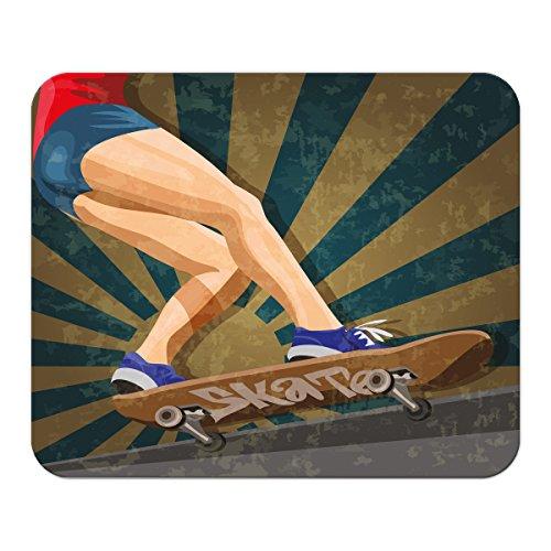 Gaming Mauspad mit Fotodruck Mousepad 220 x 180 mm Rutschfest Schwarz Fransenfreier Rand Präzision Sport Skateboard bedruckt (Skateboard-spiele Für Pc)