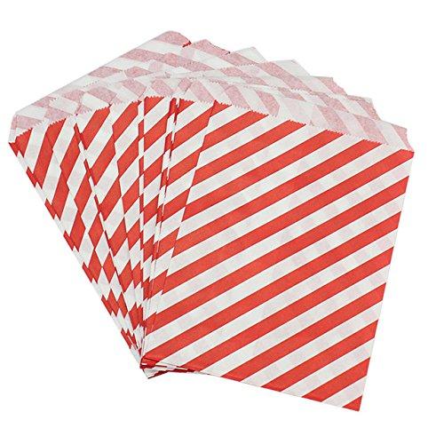 100x bustine 13*17cm carta biodegradabile porta confetti,dolce,pane,colorata matrimonio striscia (rosso)