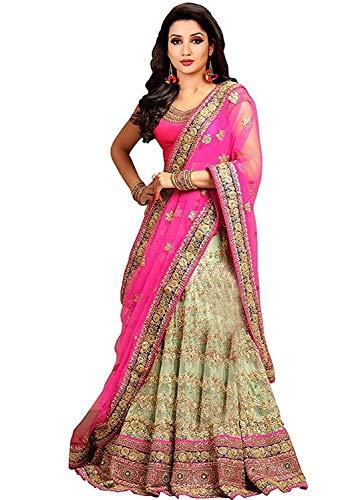 BRIDAL4Fashion Women\'s Embroidered Semi Stitched lehenga choli With Blouse Piece (Pink)