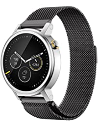 Malloom Correa Banda de Milanese bucle magnético de acero inoxidable para Men's 42mm MOTO 360 2nd Watch (negro)