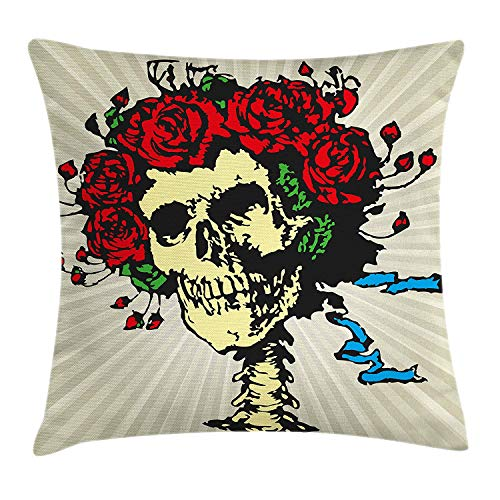 shion Cover, Tattoo Art Style Graphic Skull in Red Flowers Crown Halloween Composition Print, Decorative Square Accent Pillow Case, 18 X 18 inches, Beige Multicolor ()