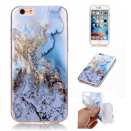 CAOLATOR Hülle Case TPU Zurück Bumper Hülle Case weiche Textur Rundum-schutz Schutzhülse dünne Soft-Cover Marble Textur-Muster für iPhone6/iPhone6S Blau