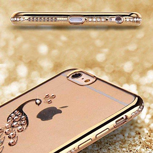 iPhone 7 Custodia Sveglio, Soft TPU Gel Cover per iPhone 7, MAOOY Shell Placcatura Edge in Lucido di Cristallo di Scintillio Strass Shock Absorption Protettiva Trasparente Ultra Sottile Chic Clear Bum Guscio Oro