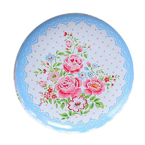 Baoblaze Gewürzdose Teedose rund mit Deckel, Kaffeedose aus Weißblech - Blume # 2