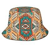 cvbnch Cappelli alla Pescatora Ethnic Aztec Secret Tribe Pattern Unisex Cotton Packable Black Travel Bucket Hat Fishing cap Black Sunscreen