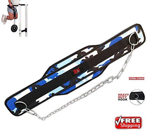 Cinturón 2Fit con cadena para musculación, levantamiento de pesas, cinturón para gimnasio, apoyo lumbar, diseño de camuflaje, mujer, Blue camouflage