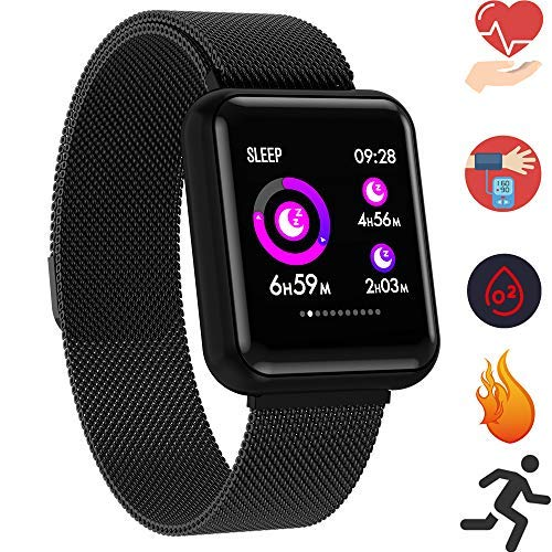 Bluetooth Smartwatch, Fitness Uhr Intelligente Armbanduhr Fitness Tracker Smart Watch Sport Uhr mit Kamera Schrittzähler Schlaftracker Romte Capture Kompatibel mit Android Smartphone (P68 Schwarz) - Fitness-bluetooth-uhr