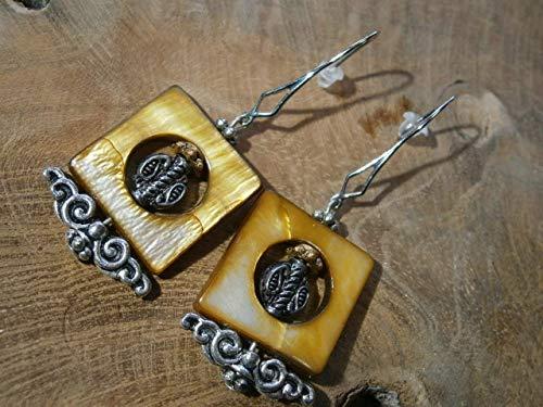 Camel-koralle (Ohrringe aus Perlmutt in camel beige im Boho chic Design als handgemachter Schmuck)