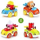 LUKAT Spielzeugautos Set für Kinder, Spielzeug Autos ab 1 Jahr 2 3 Jahren Kleine Geschenke Auto Spielzeug für Kinder Push and Go Auto Jungen und Mädchen 4er-Set