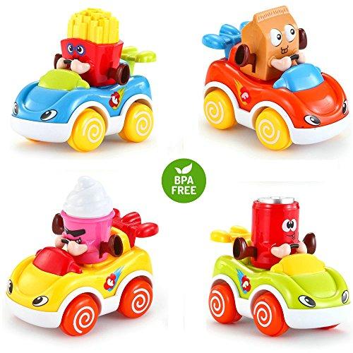 LUKAT - Pack de 4 Juguetes para bebé, Coches de Juguete para niños y niñas de 1 2 3 años (+18 meses) . Vehículos infantiles refresco, helado, patatas y leche