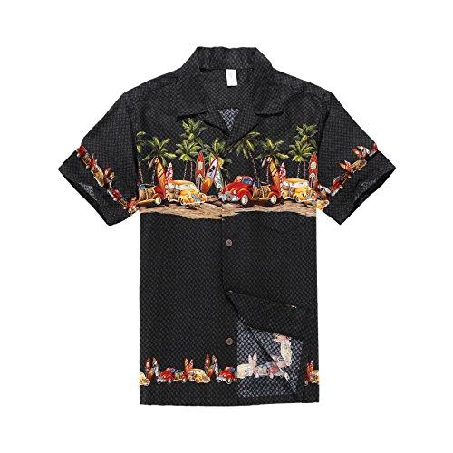 Hombres Aloha camisa hawaiana en Coches antiguos Palmeras Tablas de surf en Negro L