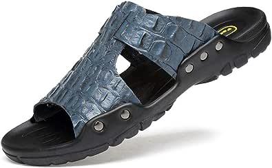 GBZLFH Pantofole estive da uomo, indossare scarpe da spiaggia in pelle antiscivolo con fondo morbido, motivo a coccodrillo in rilievo adatto per sandali e pantofole casual per l'estate all'aperto