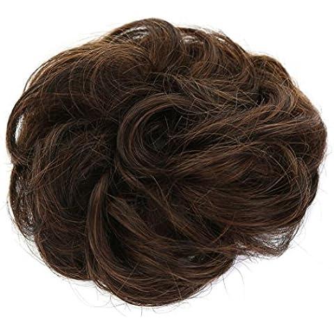 XQXHair Donne della polpetta palla testa Bud parrucca ragazza capelli accessori Lady Updo Ponytail Bud Roll , matt high temperature filament light brown - Lady Testa Del Fronte Pin
