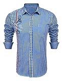 Burlady Hemd Herren Kariert Langarm Trachtenhemd Karohemd Stickereien Freizeit Männer Shirt (XXL, Blau-T)
