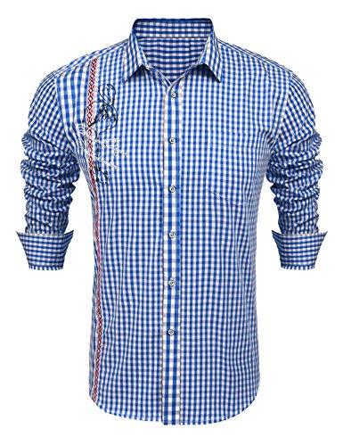 Burlady Trachtenhemd Herren Kariert | Slim-Fit Männer Hemd in Vielen Karo Farben | Hemd Aus 100% Baumwolle in Den Größen S-XXXL blau l