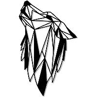 Steelmob - Decorazione da parete, testa di lupo in metallo, geometrica, colore: Nero