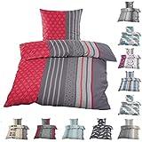 Bettenfee Biber Bettwäsche 135x200cm + 80x80cm, Baumwolle Winterbettwäsche mit Reißverschluss,Streifen Rot