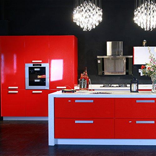 ARUHE PVC Klebefolie Dekofolie 0.61*5M Schränke Tapeten Möbelfolie Küchenfolie Selbstklebend für Küchenschränke Möbel Rot