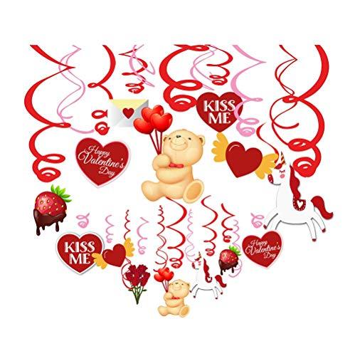 (Sayala 30 teilig Hängedekoration Deko -Valentinstag Rot & Rosa Themen - Herz Swirl Folie Hängen Swirl Zubehör für Valentinstag Hochzeit Dekoration)