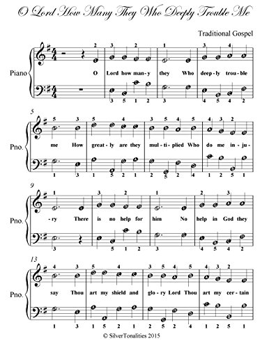 O Lord How Many They Who Deeply Trouble Me  Easy Piano Sheet Music  (English Edition)