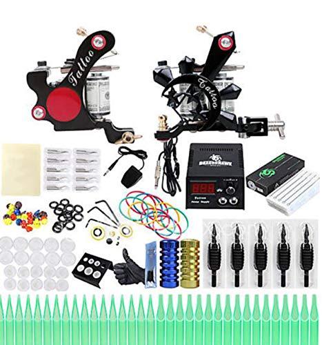 Tattoo-Maschine Professional Tattoo Kit-2 Pcs Tattoo-Maschinen, Professionelle LCD-Stromversorgungs-Gehäuse Nicht Enthalten 2 Legierung Maschine Liner & -