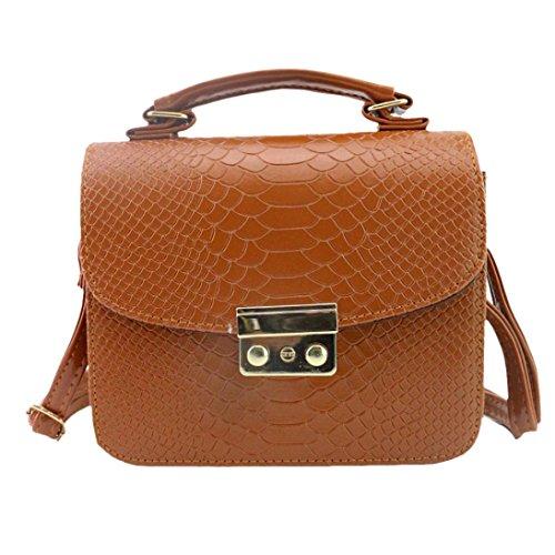 Longra Sacchetto diagonale del sacchetto di spalla del modello di alligatore di modo delle donne Marrone