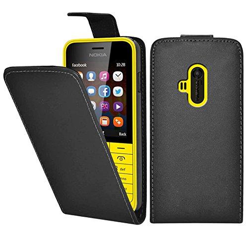Nokia 220 / 220 Dual Sim Premium Leder Flip Case - Schwarz Pu Leder Schutz Hülle Flip Case Etui Für Nokia 220 / 220 Dual Sim - thinkmobile