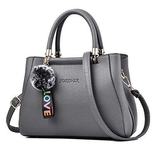 Flada Women PU Leder Tote Taschen Schulter Handtaschen Crossbody Taschen Top-Handle Taschen mit Hairball Grey (Überprüfen Schulter Tote Sie)