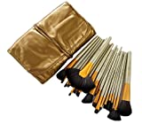 #9: Puna Store® 24 Piece Makeup Brush Set with Storage Pouch - Beige