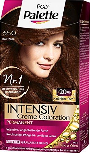 Poly Palette Intensiv Creme Coloration, 650 Kastanie Stufe 3, 3er Pack (3 x 115 ml) -