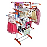MSE New Jumbo / Prince Jumbo 2 Poll Hi-Quality Three Layer Clothes Rack Hanger with Wheels for Drying Clothes