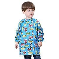 DAWNTUNG Kids Universal Artist Painting Apron Waterproof Rain Coat Pattern Long Sleeve Smock Bibs Age 2-6 Unisex