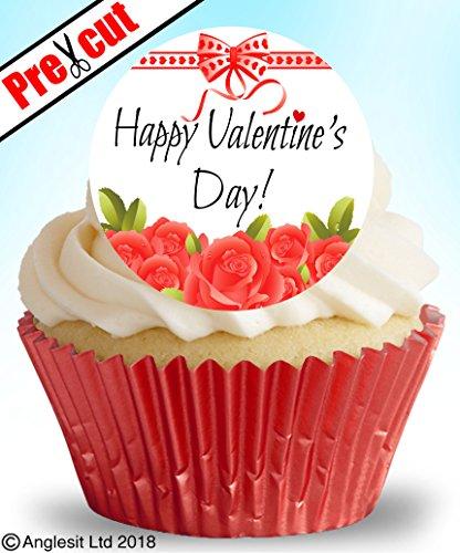 en Happy Valentine 's Day V VII. A essbarem Reispapier/Waffel Papier Cupcake Kuchen Dessert Topper Valentinstag Hochzeit Jahrestag Verlobung Party Dekorationen ()