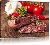 Saftiges Pfeffer Steak Format: 100x70 auf Leinwand, XXL riesige Bilder fertig gerahmt mit Keilrahmen, Kunstdruck auf Wandbild mit Rahmen, günstiger als Gemälde oder Ölbild, kein Poster oder Plakat