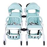 SHOUHOUZHE Twin-Kinderwagen Leichtes Klapp Aluminiumlegierung Babywagen Kann Sitzen Oder Hinlegen Liegen Blau (70 * 43 * 97cm)